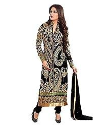 shubham creation women's black desiner georgette dress material