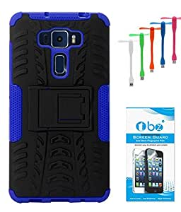 TBZ Hard Grip Rubberized Kickstand Back Cover Case for Asus Zenfone 3 ZE552KL (5.5in) with USB Flexible Fan and Tempered Screen Guard -Blue