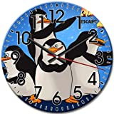 Design Round Wall Clock Frameless Silent Arabic Numbers Favorite The Penguins of Madagascar 10 Inch / 25 cm Diameter