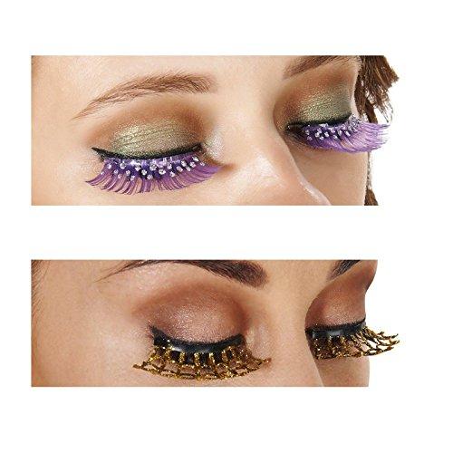 [Purple and Silver Eyelashes and Gold Spiderweb Eyelashes Bundle Set] (Spider Web Eye Makeup)