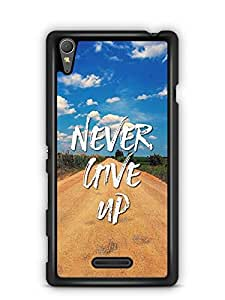 YuBingo Never Give Up Designer Mobile Case Back Cover for Sony Xperia T3