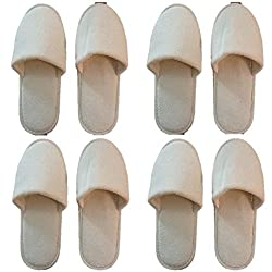Giftocraft Unisex White Cotton Bedroom Slippers (Set Of 4)