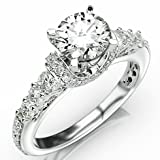 2.05 Carat Round Cut Designer Four Prong Round Diamond Engagement Ring (J Color, I2 Clarity)