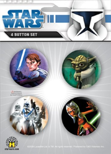 "Licenses Products Star Wars Clone Wars Assorted Artworks 1.25"" Button Set, 4-Piece"