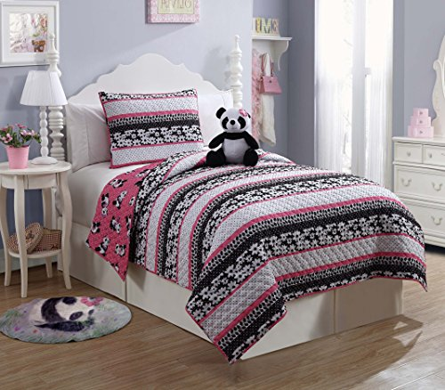 9 Pc Reversible Panda Bed in a Bag, Full Size Bedding, By Karalai Bedding Collection (full)