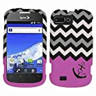 2D Black Hotpink Anchor Chevron ZTE Valet Z665C Straight Talk / Fury N850 Sprint / Director N850L U.S Cellular Case Cover Hard Phone Case Snap-on Cover Rubberized Touch Faceplates
