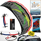 Prism Tensor 5.0 Power Foil Kite (Silver) 3-Line Control Bar Traction Trainer Bundle:... by