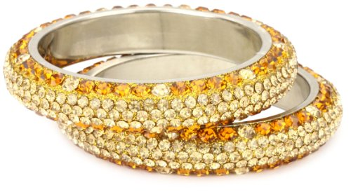 Chamak by priya kakkar Set Of 2 Orange and Gold Crystallized Bangle Bracelet