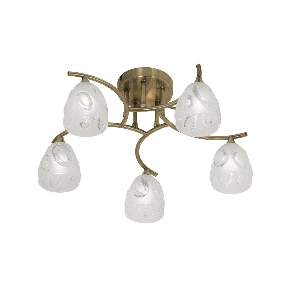 Oaks Lighting 5083 5 AB Jurapa Deckenleuchte, antikes Messing-Finish, mit mattem, Lampenschirme aus Glas