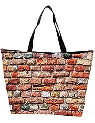 Snoogg Colorful Brick Wall Designer Waterproof Bag Made Of High Strength Nylon