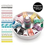 We R Memory Keepers Washi Tape Dispenser Kit Gift Set Organizer includes 16 Decorative Washi Tape for DIY Arts and Crafts Projects, Journaling, Planner Accessories, Scrapbooking (Color: White)