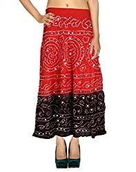 Gypsy Bohemian Casual Skirt Cotton Red Ethnic Tie Dye For Her By Rajrang