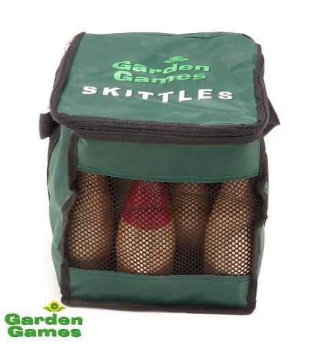 Garden Wooden Skittles 9 pin set in Handy carry bag