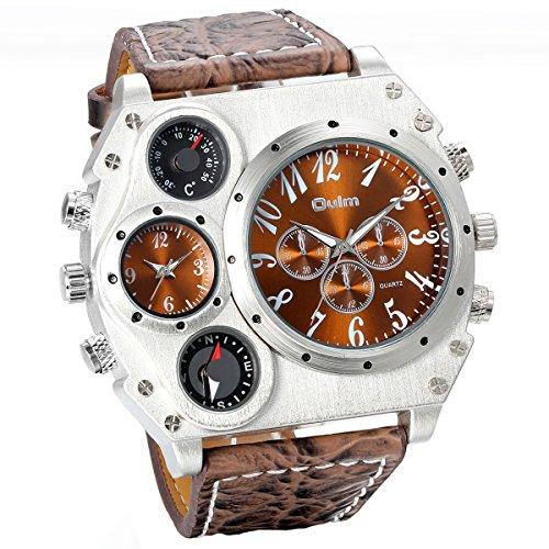 Jewelrywe Reloj Ronda Geniales Pantalla Brújula Termómetro Dual Time Dial Marrón