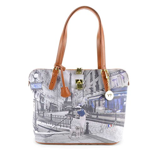 Y NOT? - Borsa shopper donna clip manici shopping medium g-377 parigi metro parisienne
