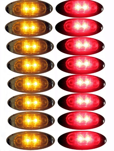 """8 Amber + 8 Red Led Oval Clearance/Side Marker Light With Chrome Bezel Clear Lens For Truck Trailer 2"""" Autosmart Kl-15114C-Ae"""