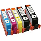 Compatible HP 364XL ink Cartridges for HP Photosmart 5510, 5520, 5515, 6510, 6520, 7510, 7520, B8550, C5324, C5380, C6324, C6380, D5460, HP Photosmart B010a, B109a, B109d, B109, B109n, B110a, B110c, B110e, HP Photosmart Plus B209a, B209c, B210a, B210c, HP Photosmart Premium C309a, C309n, C309g, C310a, C410b, HP Photosmart eStation C510a, HP Deskjet 3070A, 3250, 3520 e ALL-in-ONE, HP Officejet 4620, 4622 Printers (2x Large Black, 1x Yellow, 1x Cyan, 1x Magenta) (1 Set + 1 Large Black)