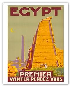 Egypt - Premier Winter Rendez-Vous (Rendezvous) - Karnak Temple - Vintage World Travel Poster by Roger Bréval c.1930s - Fine Art Print - 16in x 20in
