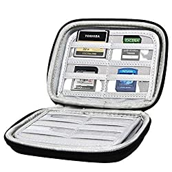 Hermitshell Memory Card Carrying Storage Hard Case Bag with carabiner for Transcend Sandisk Kingston Samsung Sony Lexar Micro SD SDHC PSV CF SD TF SIM MS 3DS 8G 16G 32G Class 6 10 Stick Card