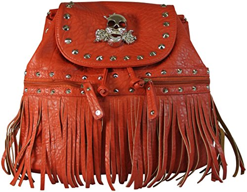 Backpack Purse Fringed with Skull and Roses Faux Pebbled Leather Red