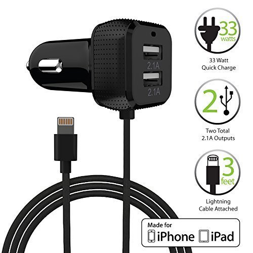 FosPower [Apple MFI Certified] Dual USB Port (6.6A/33W) Caricabatteria per auto con 8-Pin Lightning Cavo per Apple iPhone 7, 6s, 6s Plus, 6, SE, 5S, 5 smartphone e tablet (Nero)