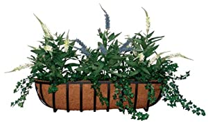 Austram 206917 30-Inch Leather Black Hampton Trough Planter