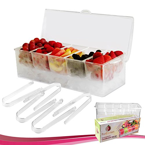 Chilled Condiment Server with 5 Compartments + 5 FREE Tongs I Removable Condiment Containers on Ice Tray Bundle (Vegetable Cooler compare prices)