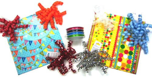 The Gift Wrap Company Happy Birthday Wrapping Set with Celebration Wrap and Ribbon/Bow Kit