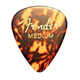 Fender Classic Celluloid Guitar Picks / Plectrums In A Handy Pick Tin - 12 x Tortoiseshell Medium Gauge Picks 351 Style By Dirty Riffs