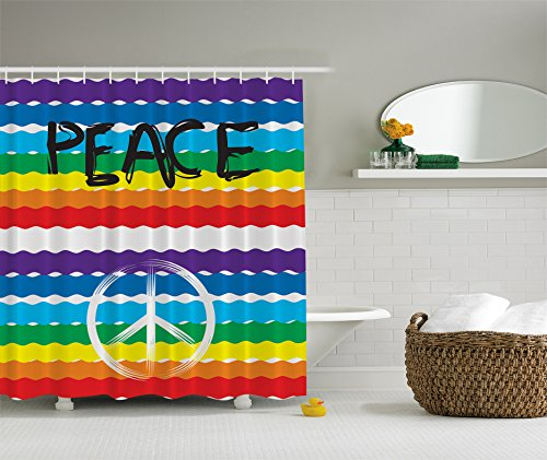Peace Sign Symbol Rainbow Flag Unique Colorful Multicolor Stripes Love Bathroom Fabric Shower Curtain 69x70 Inches Purple Blue Green Yellow Red White