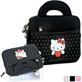 "Hello Kitty Themed Apple iPad Mini / 8"" Tablet Sleeve w/ Handles in Polka Dot Black (Neoprene, Water Resistant, Branded YKK Zippers, Soft Plush Inner Lining)"