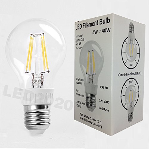 Led2020 A19 Led Filament Bulb Nostalgic Edison Style A19 4W To Replace 40W Incandescent Bulb Soft White (2700K)
