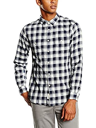 Dockers Camisa Hombre Wrinkle Twill Ls Tanner Pembroke P (Azul)