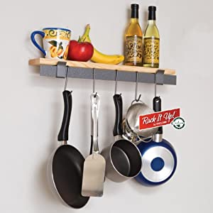 Enclume MPW-09 RACK IT UP Wall Bar with Hemlock Shelf Pot Rack by Enclume