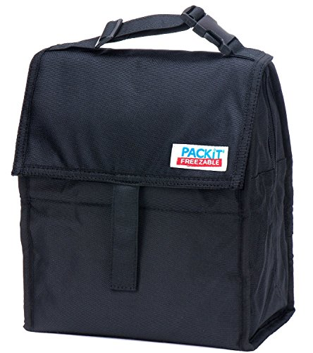 PackIt Freezable Lunch Bag with Zip Closure Black, 2 Count - 1