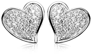 Sterling Silver Simulated Diamond Pave Heart Earrings