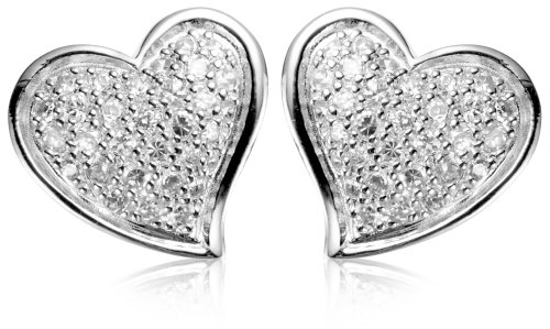 Click to buy Diamond Stud Heart Earrings: Sterling Silver Cubic Zirconia Pave Heart Earrings from Amazon!