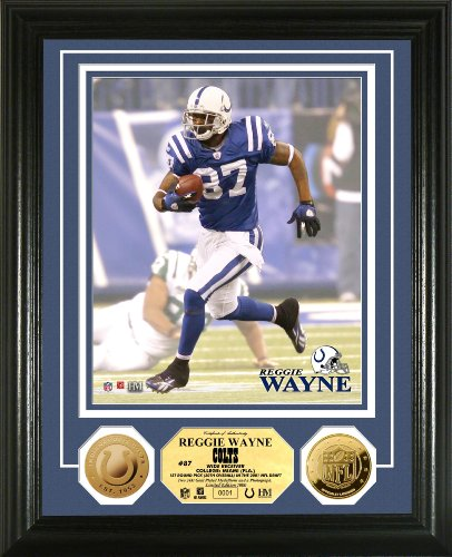 Highland Mint NFL Indianapolis Colts Reggie Wayne 24KT Gold Coin Photomint