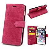 iPhone 6S Plus Cases, GELITE® Genuine Leather Wallet Case, 5.5 Inch, Slim Flip Book Cases with ID Card Slots and Kickstand, Magnetic Flap Closure for iPhone 6S Plus (Hot Pink)