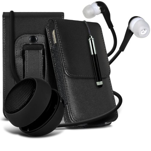 Samsung Galaxy Young S6310 Protective Pu Leather Pouch Belt Holster Flip Case Cover Holder, Retractable Stylus Pen, 3.5Mm Jack Earbuds Earphones Headphones & Mini Rechargable Portable Capsule Travel Bass Speaker 3.5Mm Jack Black By Spyrox