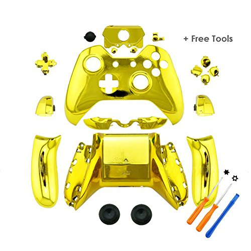 YTTL® Gold Chrome Controller Housing Shell for Microsoft XBOX ONE Wireless Controller with 3.5 mm headsets jack (Xbox One Bullet Buttons Gold compare prices)