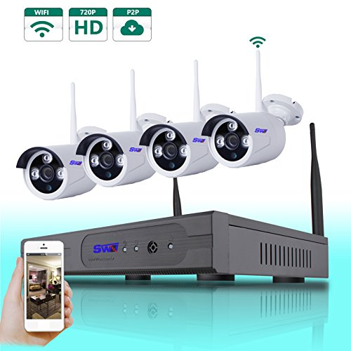 SwinWay 4CH WIFI NVR Wireless Security Camera System with 4 Wireless IP 720P wide angle lens Outdoor Night Vision security CCTV Cameras Plug and Play Smart Phone APP Remote View