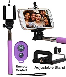 Selfie Stick Monopod With Bluetooth Remote Wireless Shutter Connectivity Compatible For Vivo X5-PURPLE