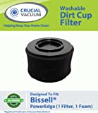 Bissell PowerEdge Washable Dust Cup Filter Fits Bissell PowerEdge Hard Floor Vacuum 81L2, 81L2T; Washable & Reusable; Replaces Bissell Part # 54A2; Designed & Engineered by Crucial Vacuum