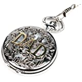 "Men's Vintage Skeleton Hollow ""DAD"" Quartz Pocket Watch w/ Gift Chain for Father's Day"