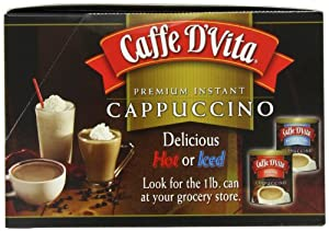 Caffe D'Vita Mocha Cappuccino Sugar Free, 7.5-Gram Single Serve Envelopes (Pack of 24)
