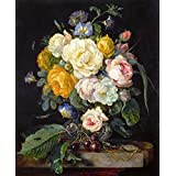 The Museum Outlet - Still-life With A Bouquet Of Flowers, Cherries And A Clock - 1655 - Canvas Print Online (24...