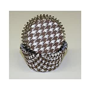 Chocolate Brown Houndstooth Cupcake Liners Standard Size 50 count