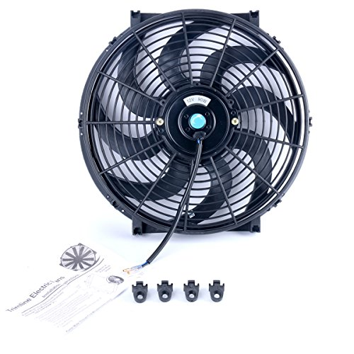 8milelake 12V 90W High Performance Black Slim Electric Cooling Radiator Fan with Fan Mounting Kit (14 inch) (14 Inch Electric Radiator Fan compare prices)