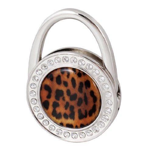 Sodial(R) Woman Black Leopard Pattern Bling Rhinestone Folding Metal Handbag Hook Hanger